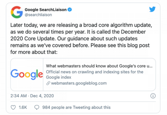Google Rolls Out Search Update (December 2020)